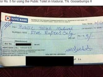 पब्लिक टॉयलेट यूज करने के बाद दिया 5 रुपए का चेक, फोटो वायरल