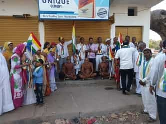 हजारों किलोमीटर पैदल चलकर महाराष्ट्र से मधुबन पहुंचा संतों का जत्था