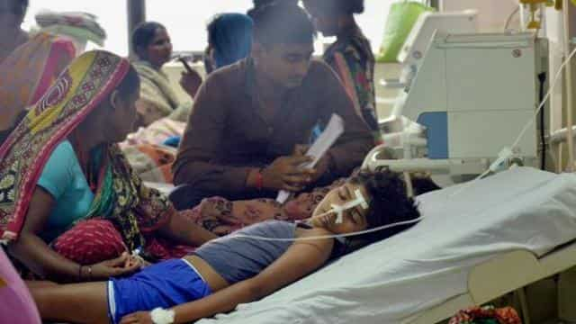 Children admitted in a ward in BRD Medical College hospital, Gorakhpur, on Saturday. Photo: PTI