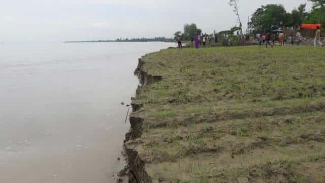Ghaghara, river, flood, stork, land,