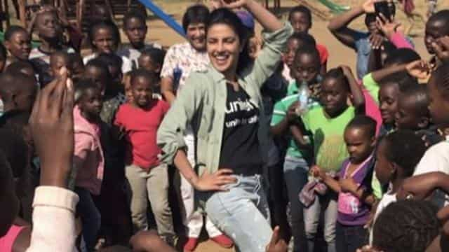 Priyanka Chopra teaching thumka TO Zimbabwe kids
