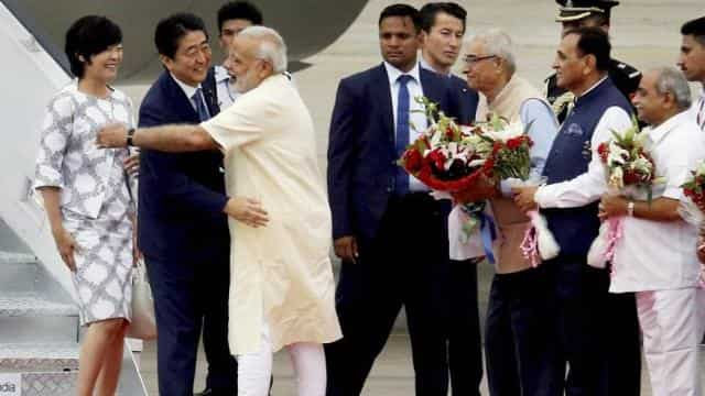 japanese pm arrives in ahmedabad