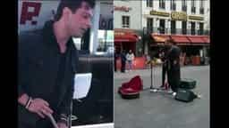बीच सड़क पर गाना गाते हुए करण