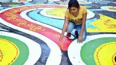 longest rangoli in kolkata