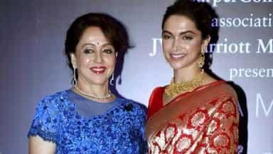 Hema Malini and Deepika Padukone during a promotional event