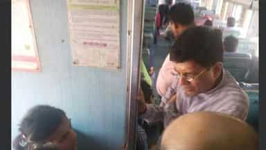 piyush goyal in train