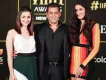 Salman Khan, Katrina Kaif and Alia Bhatt during a event
