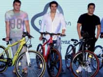 Bollywood actors at launch of 'Being Human Electric Cycle', in Mumbai