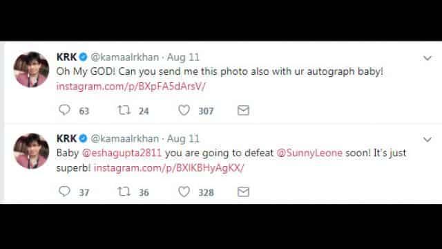 krk controversial comments on esha gupta bold photos