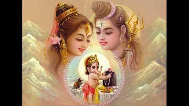 Shiva-Parvati wedding Ganesha worship - शिव