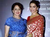 Hema Malini and Deepika Padukone during a promotional event