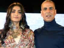 Akshay and Sonam at promotion of their movie Padman