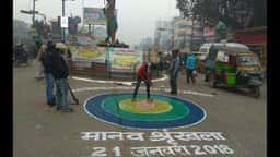 preparing for human chain in tilkamanjhi at bhagalpur
