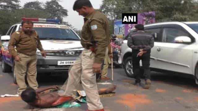 Jharkhand Police personnel beat a mentally and physically challenged man