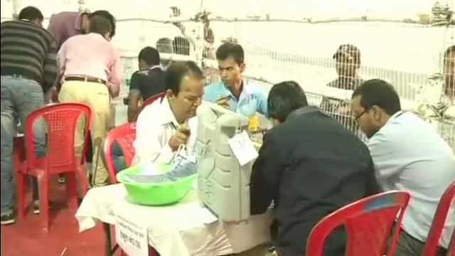 EVMs opened at a counting centre in Bihar's Araria as counting of votes continues